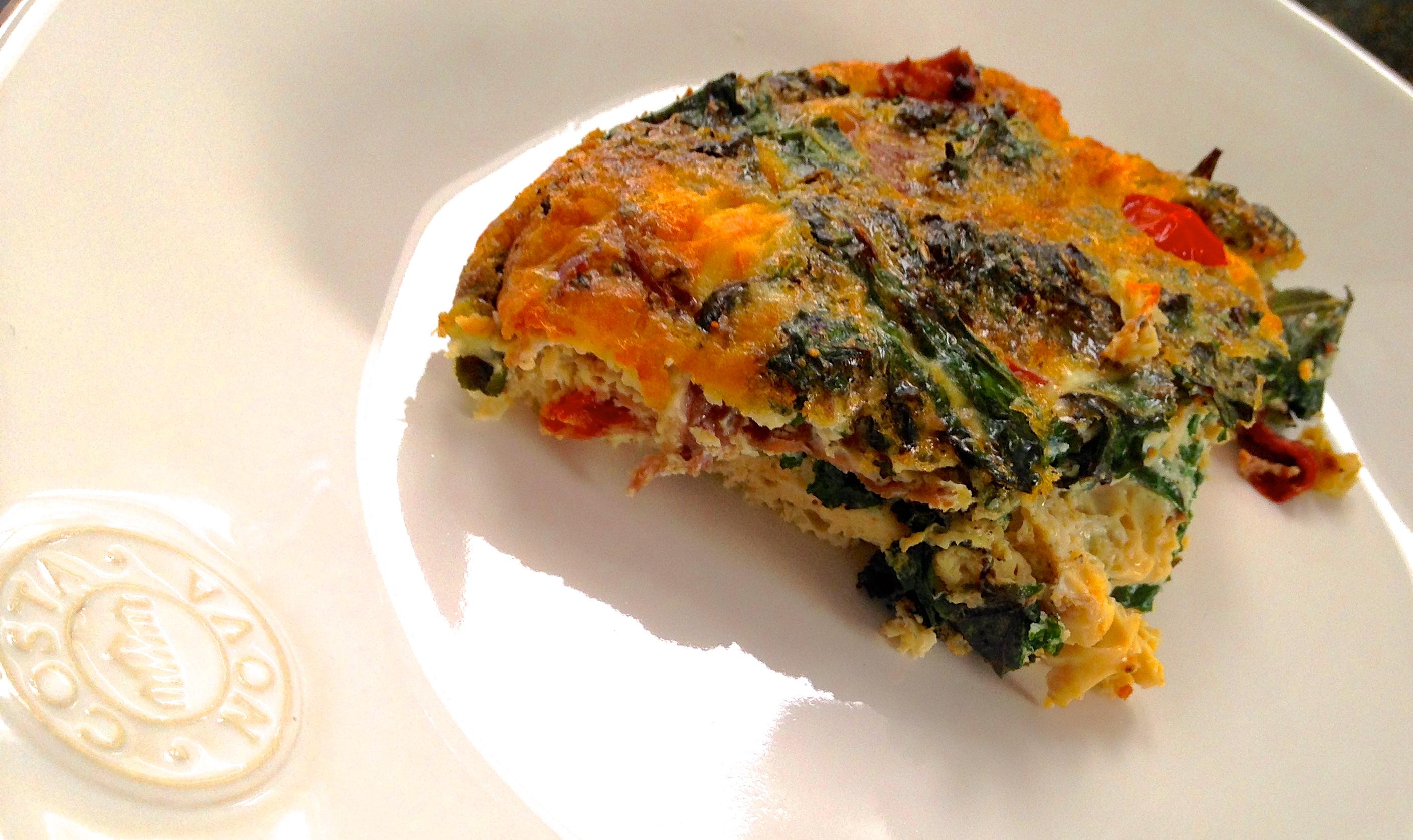 Crustless Kale & Prosciutto Quiche