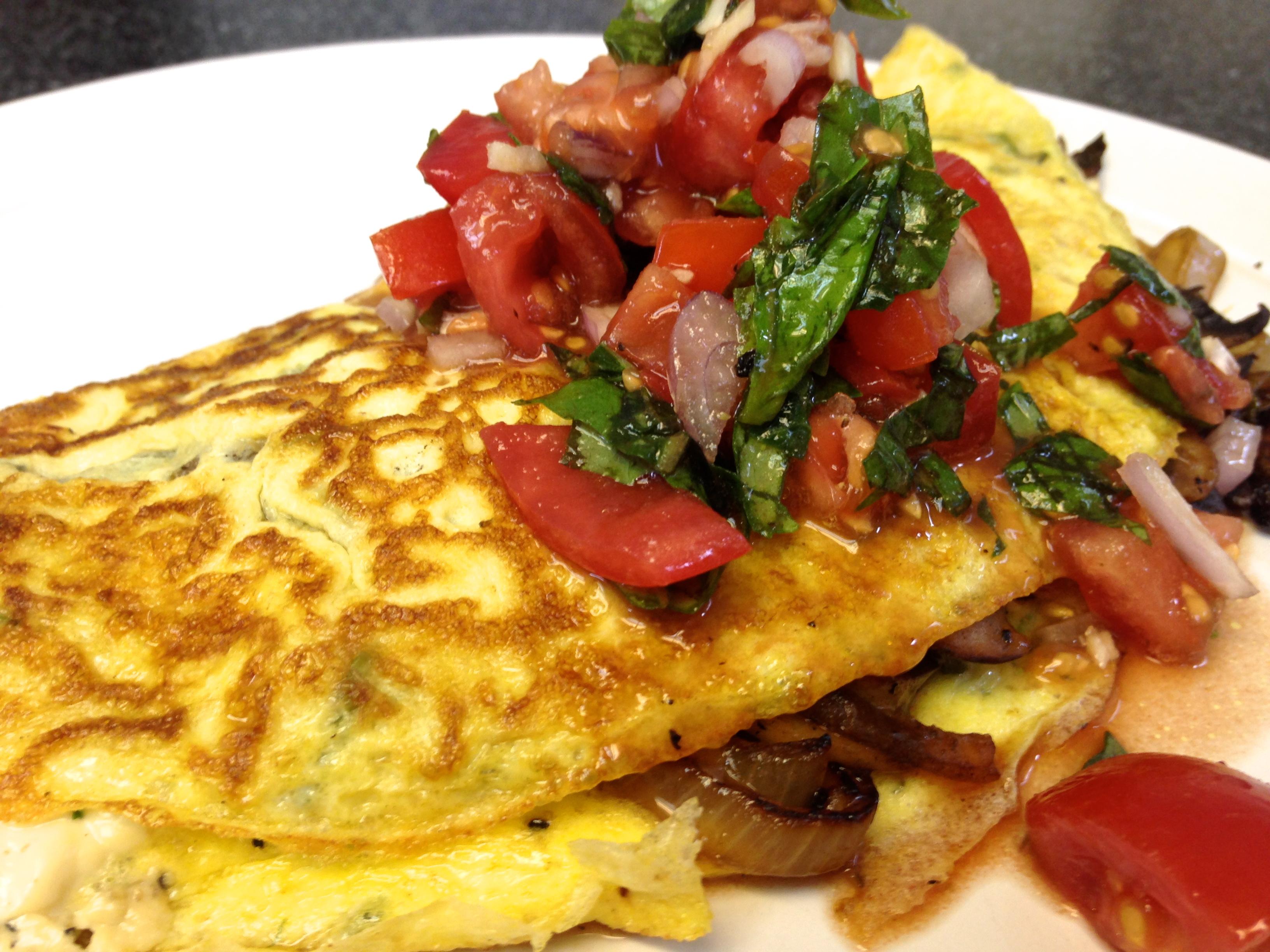 Asparagus Omelette with Fresh Bruschetta