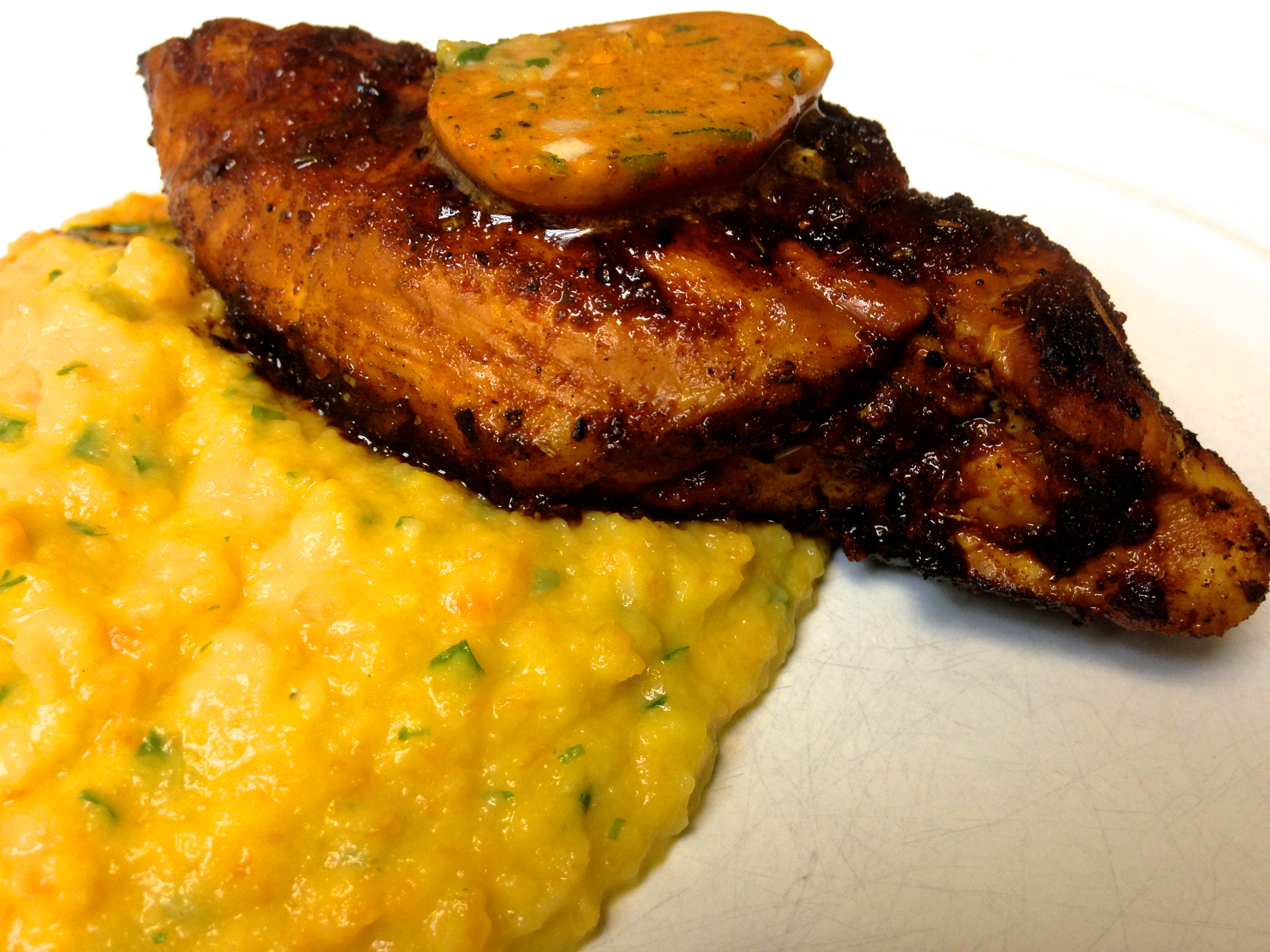 Creole Grilled Chicken with Root Vegetable Puree
