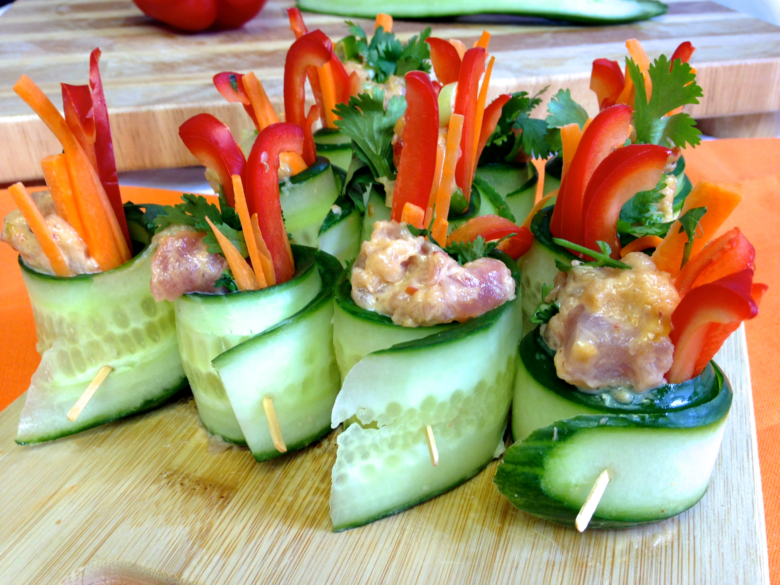 Spicy Tuna Veggie Rolls