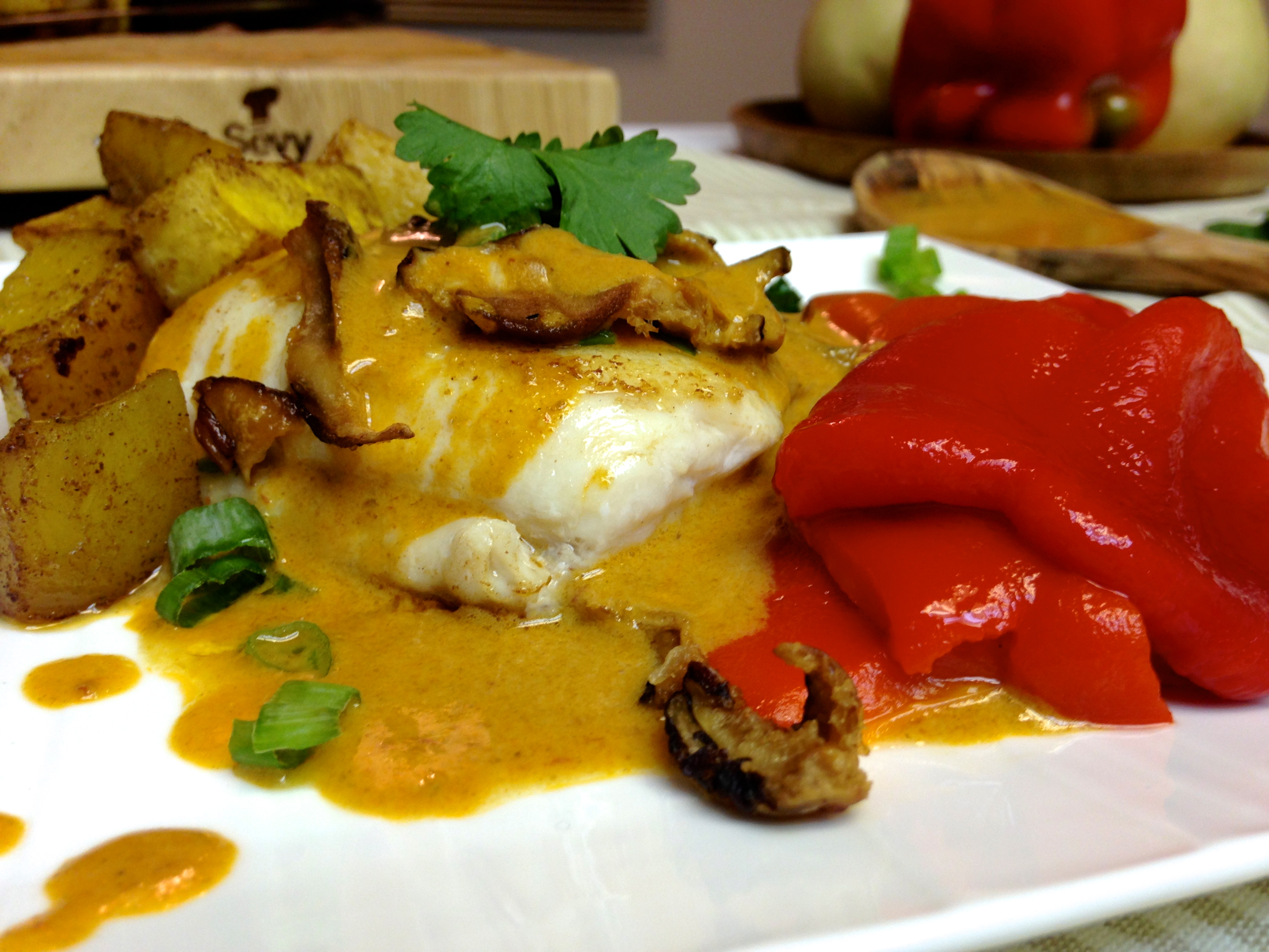 Grilled Halibut with Coconut Curry Emulsion
