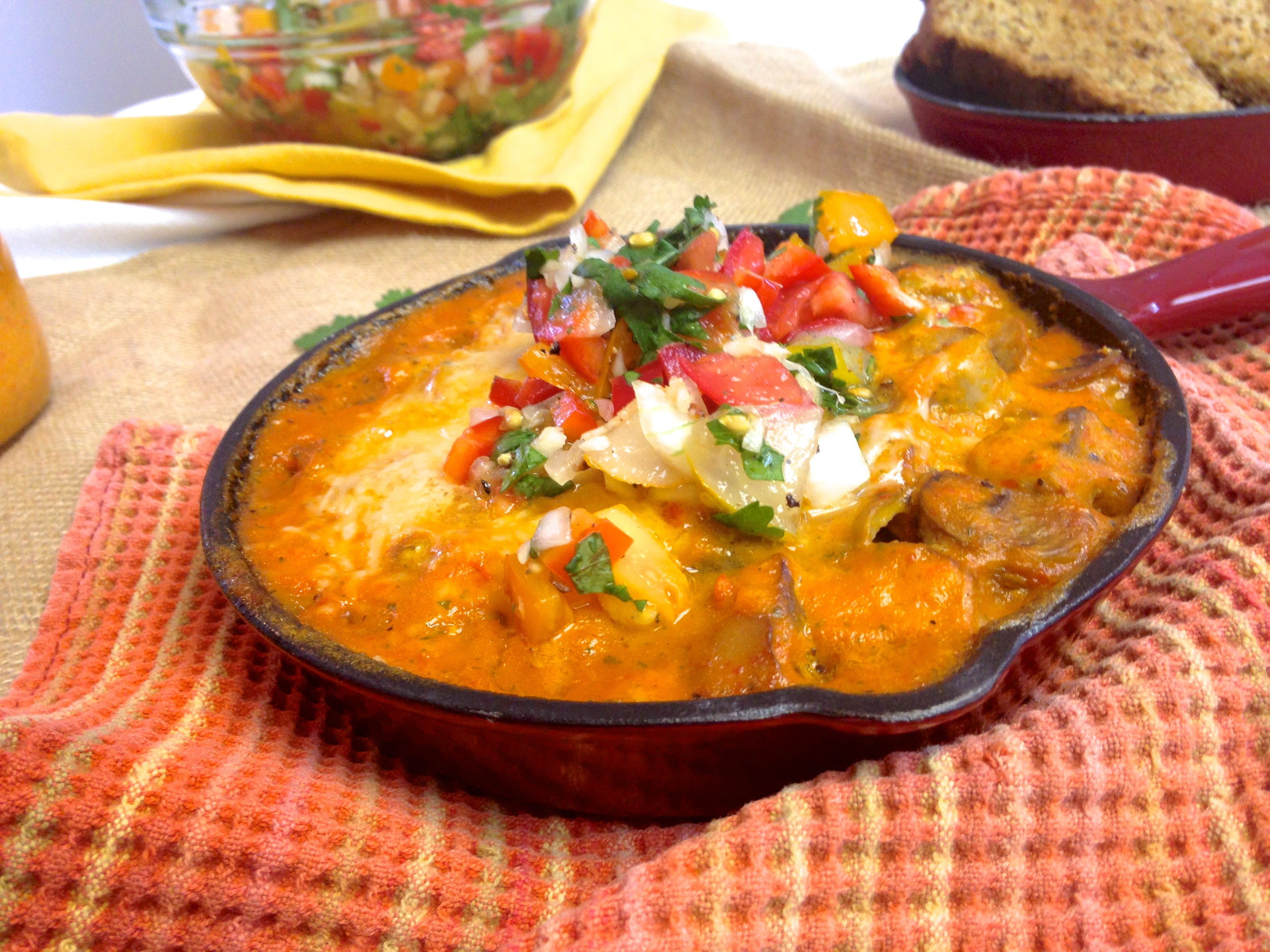 Roasted Red Pepper Egg Skillet with Fresh Pico de Gallo