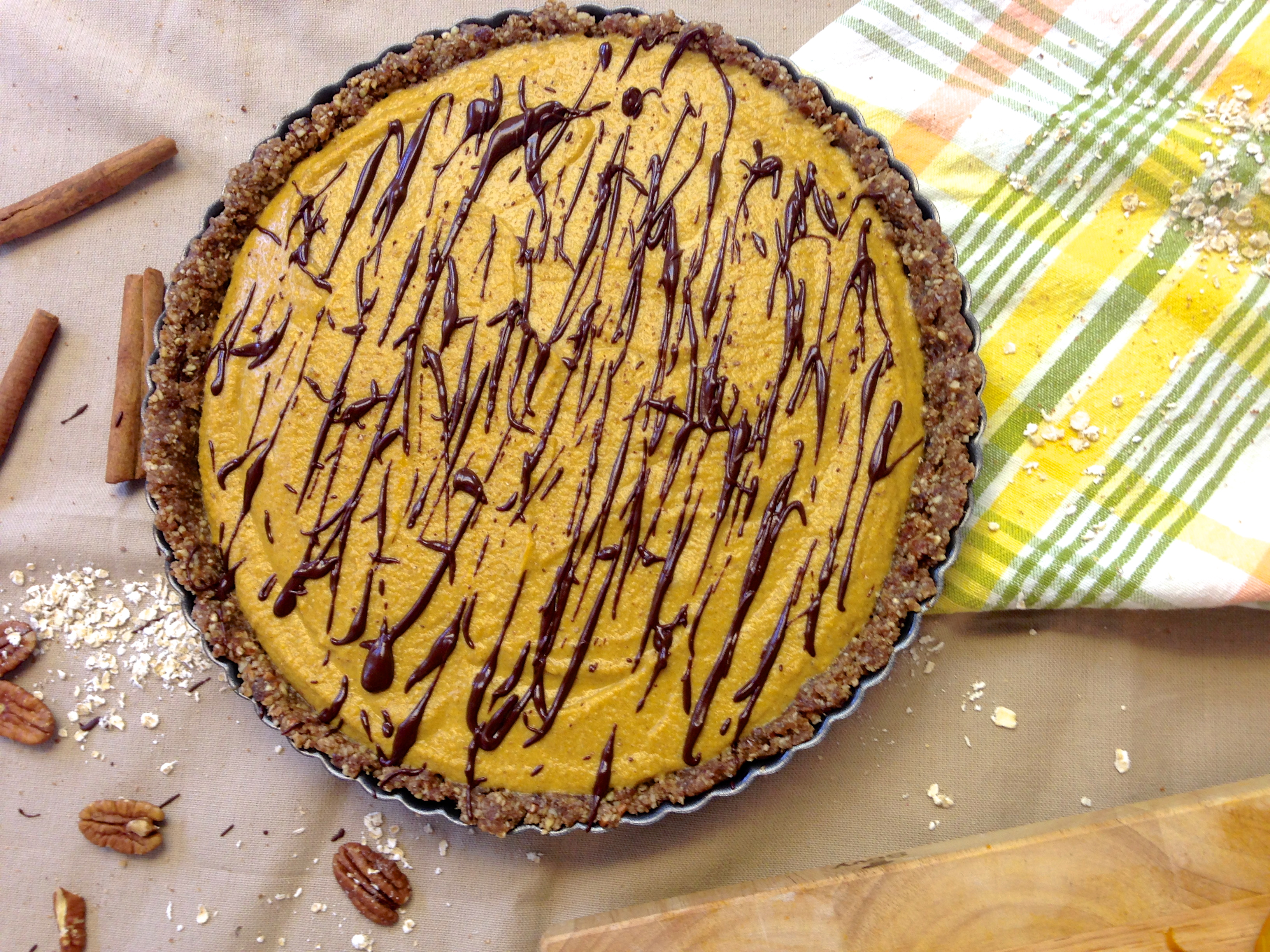 Chocolate Drizzled Pumpkin Pie (vegan & gluten-free)