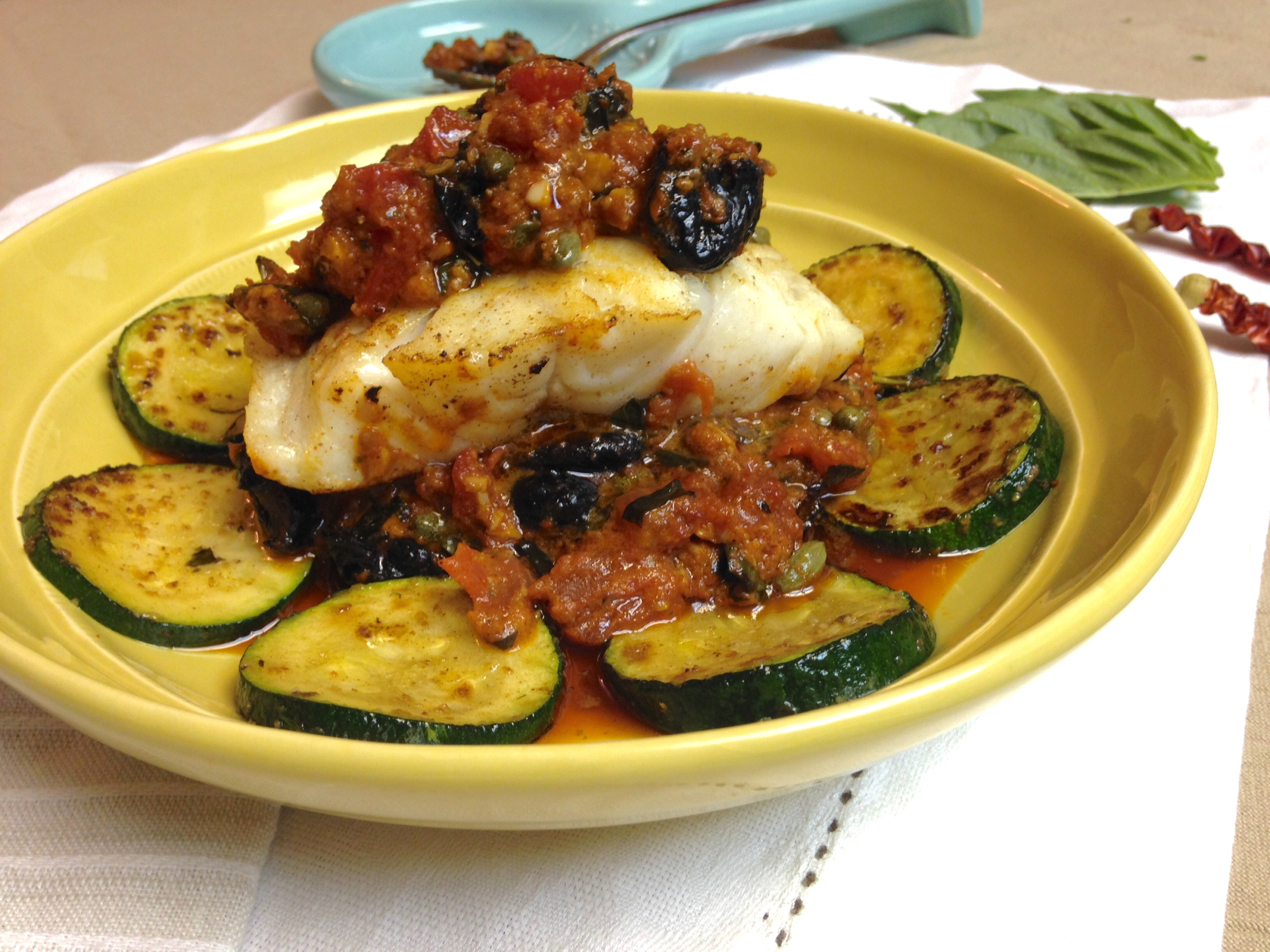 White Fish with Smokey Tomato Sauce, Olives & Capers