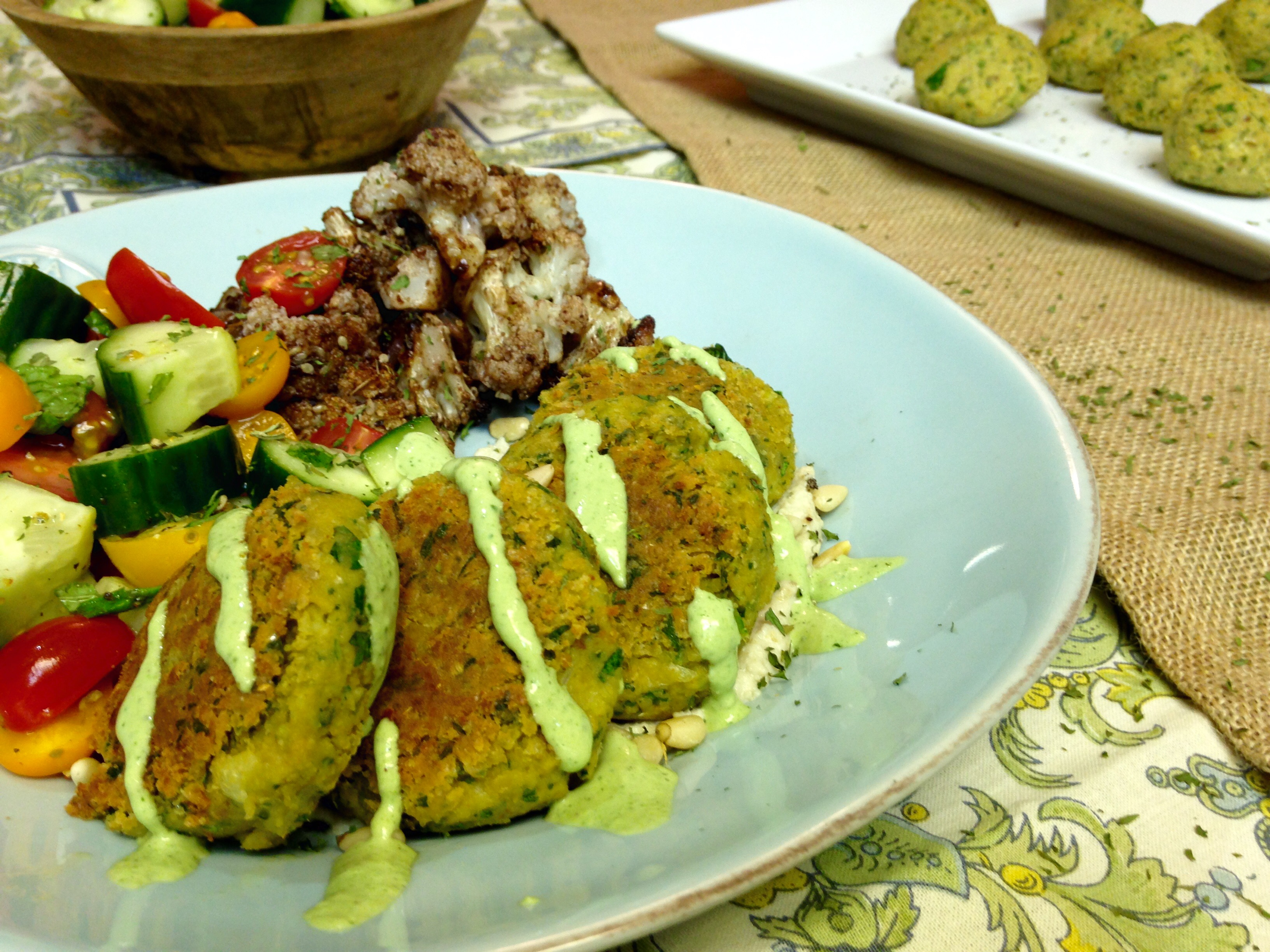 Falafels, Roasted Veg, Baba Ganoush & Mint Tahini Sauce