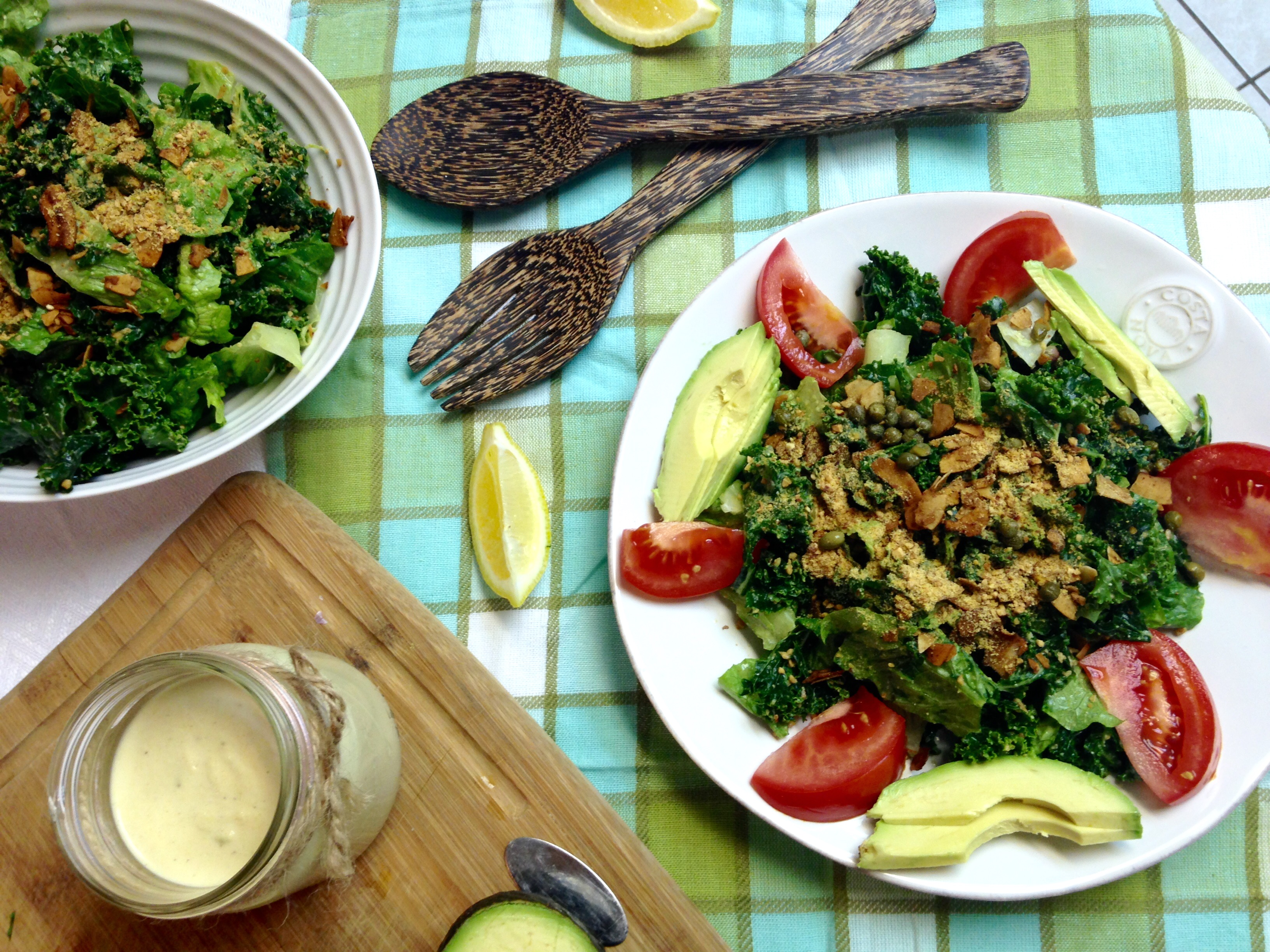 Kale Caesar with Almond Parmesan & Creamy Cashew Dressing
